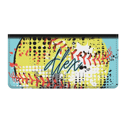Softball Genuine Leather Checkbook Cover (Personalized)