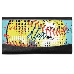Softball Genuine Leather Ladies Wallet (Personalized)