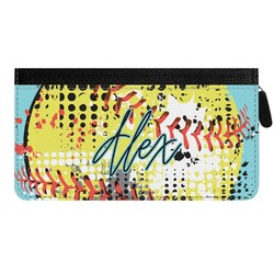 Softball Genuine Leather Ladies Zippered Wallet (Personalized)