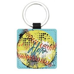 Softball Genuine Leather Rectangular Keychain (Personalized)