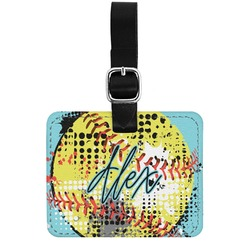 Softball Genuine Leather Rectangular  Luggage Tag (Personalized)