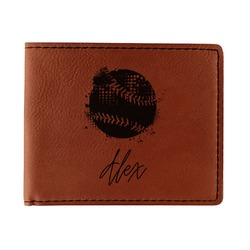 Softball Leatherette Bifold Wallet (Personalized)