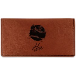 Softball Leatherette Checkbook Holder (Personalized)