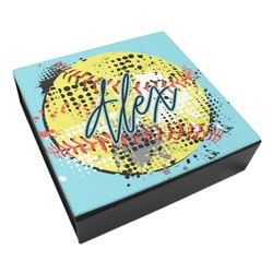 Softball Leatherette Keepsake Box - 8x8 (Personalized)