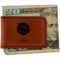 Softball Leatherette Magnetic Money Clip (Personalized)