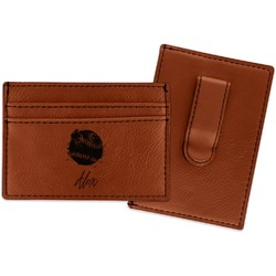 Softball Leatherette Wallet with Money Clip (Personalized)