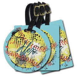 Softball Plastic Luggage Tags (Personalized)