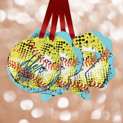 Softball Metal Ornaments - Double Sided w/ Name or Text