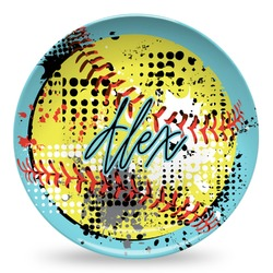 Softball Microwave Safe Plastic Plate - Composite Polymer (Personalized)