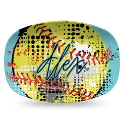 Softball Plastic Platter - Microwave & Oven Safe Composite Polymer (Personalized)