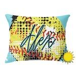 Softball Outdoor Throw Pillow (Rectangular) (Personalized)