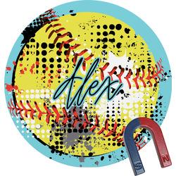 Softball Round Fridge Magnet (Personalized)