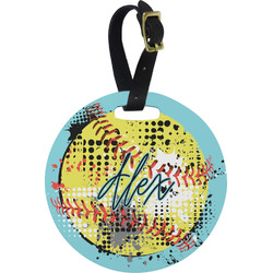 Softball Plastic Luggage Tag - Round (Personalized)