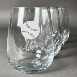 Softball Wine Glasses (Stemless Set of 4) (Personalized)