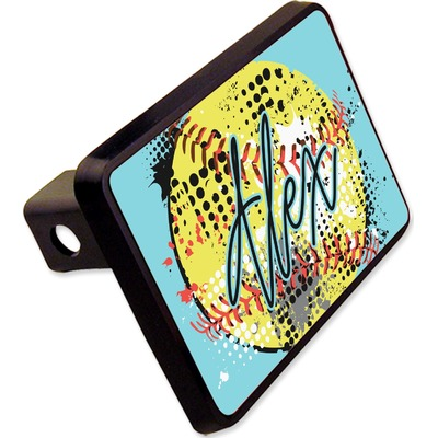 """Softball Rectangular Trailer Hitch Cover - 2"""" (Personalized)"""