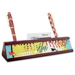 Softball Red Mahogany Nameplate with Business Card Holder (Personalized)
