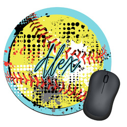 Softball Round Mouse Pad (Personalized)