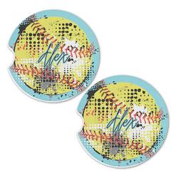 Softball Sandstone Car Coasters - Set of 2 (Personalized)