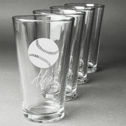 Softball Beer Glasses (Set of 4) (Personalized)