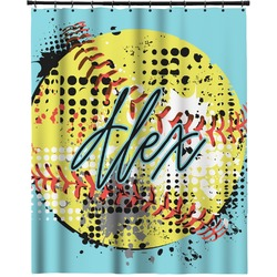 """Softball Extra Long Shower Curtain - 70""""x84"""" (Personalized)"""