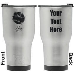 Softball RTIC Tumbler - Silver - Engraved Front & Back (Personalized)