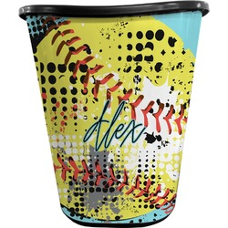 Softball Waste Basket - Double Sided (Black) (Personalized)
