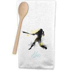 Softball Waffle Weave Kitchen Towel (Personalized)