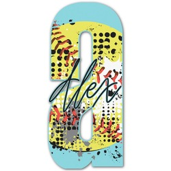 """Softball Name & Initial Decal - Up to 18""""x18"""" (Personalized)"""