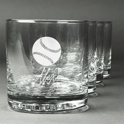Softball Whiskey Glasses (Set of 4) (Personalized)