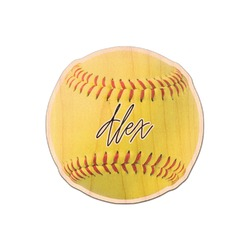Softball Genuine Maple or Cherry Wood Sticker (Personalized)