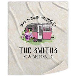Camper Sherpa Throw Blanket (Personalized)
