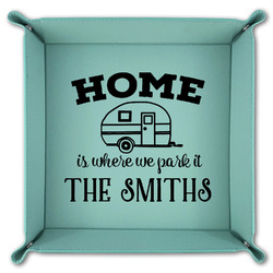 Camper Teal Faux Leather Valet Tray (Personalized)