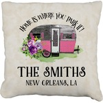 Camper Faux-Linen Throw Pillow (Personalized)