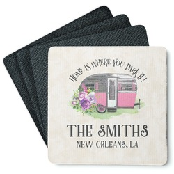 Camper Square Rubber Backed Coasters - Set of 4 (Personalized)