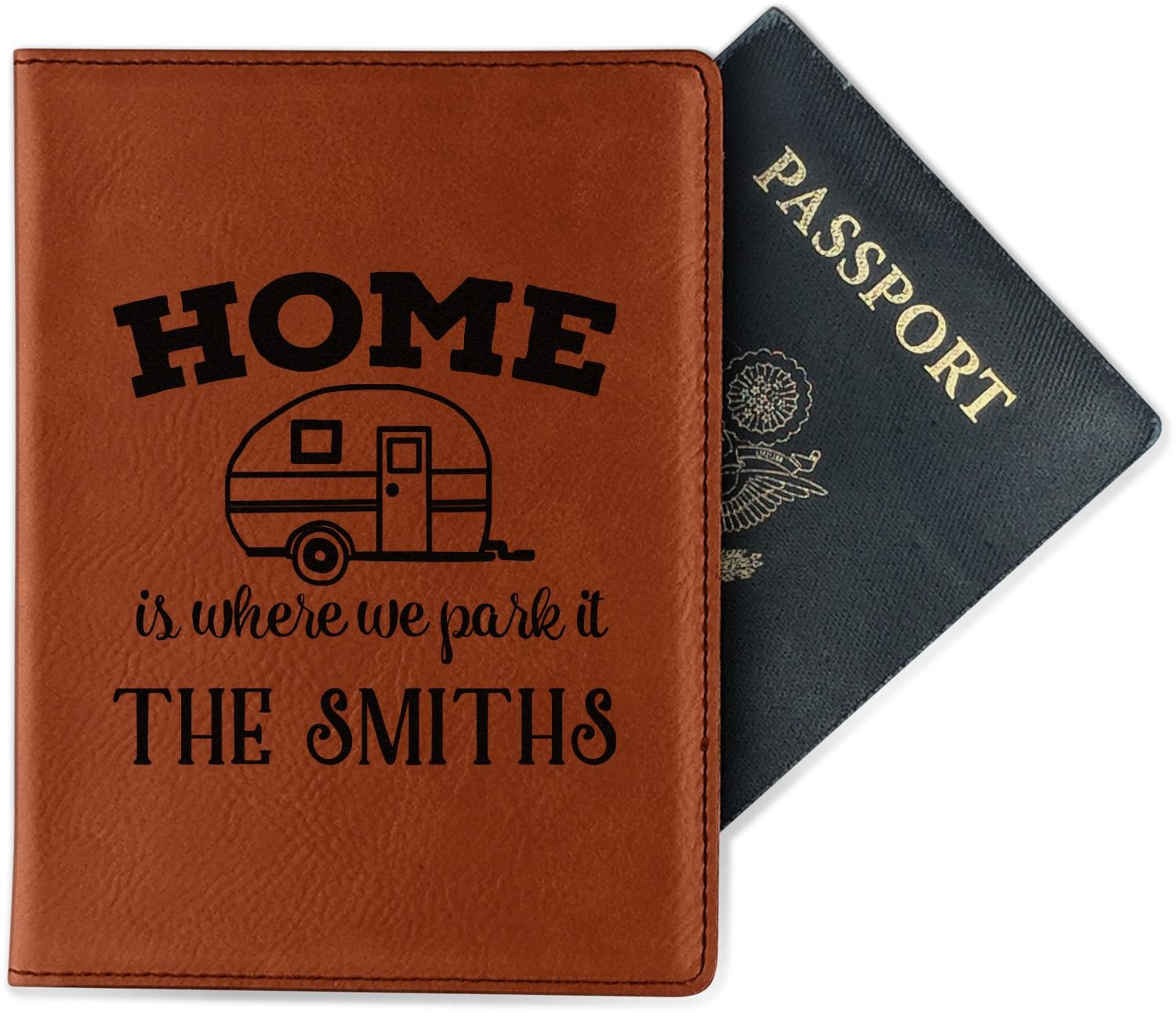 Personalized Camper Leatherette Passport Holder Single Sided