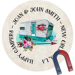 Camper Round Fridge Magnet (Personalized)