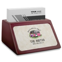 Camper Red Mahogany Business Card Holder (Personalized)
