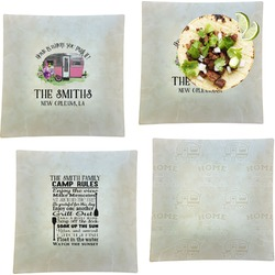 """Camper Set of 4 Glass Square Lunch / Dinner Plate 9.5"""" (Personalized)"""