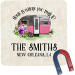 Camper Square Fridge Magnet (Personalized)