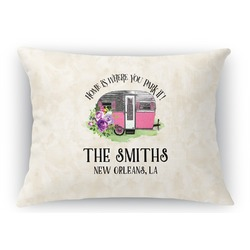 Camper Rectangular Throw Pillow Case (Personalized)