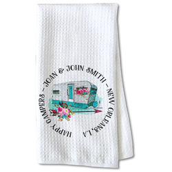 Camper Waffle Weave Kitchen Towel - Partial Print (Personalized)