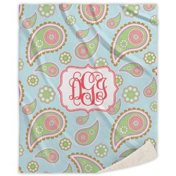 Blue Paisley Sherpa Throw Blanket (Personalized)
