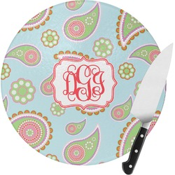 Blue Paisley Round Glass Cutting Board - Small (Personalized)