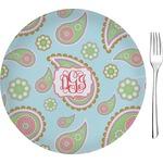 "Blue Paisley Glass Appetizer / Dessert Plates 8"" - Single or Set (Personalized)"