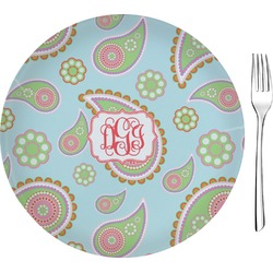 "Blue Paisley 8"" Glass Appetizer / Dessert Plates - Single or Set (Personalized)"