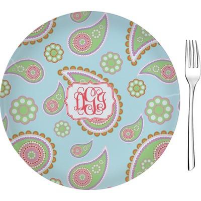 "Blue Paisley 8"" Glass Appetizer / Dessert Plates - Single or Set (Personalized)"