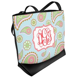 Blue Paisley Beach Tote Bag (Personalized)