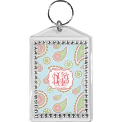 Blue Paisley Bling Keychain (Personalized)