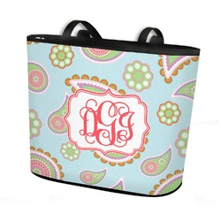 Blue Paisley Bucket Tote w/ Genuine Leather Trim (Personalized)