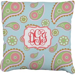 """Blue Paisley Faux-Linen Throw Pillow 16"""" (Personalized)"""